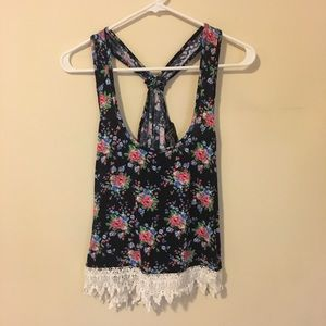 Forever 21 Floral Crochet Lace Tank Top